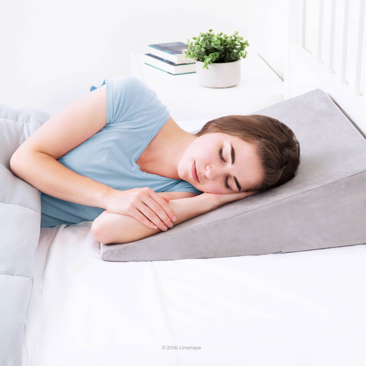 Linenspa Wedge Pillow with Removable Velour