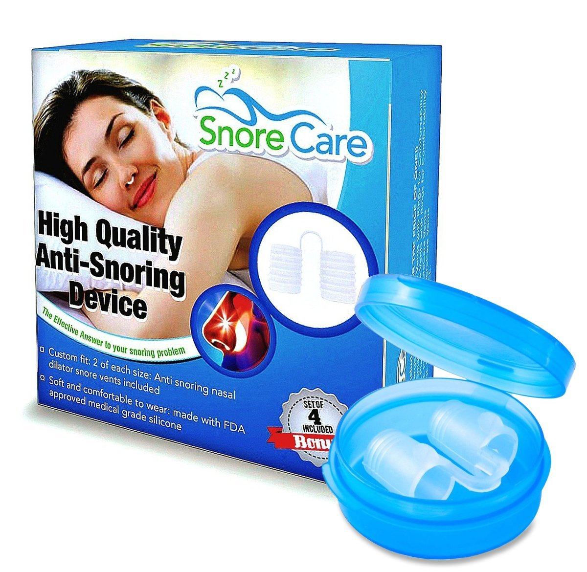SnoreCare – Advanced Set of 4 Premium Nose Vents