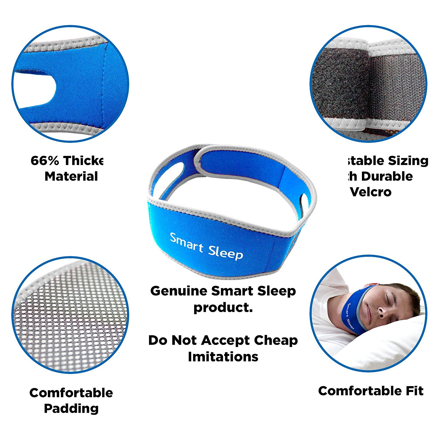 Smart Sleep Dream Strap - Adjustable Anti Snore Chin Belt - Stops Snoring Naturally