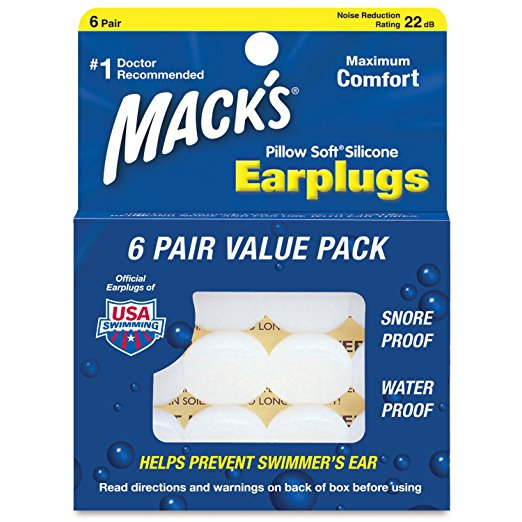 Macks Pillow Soft Silicone Earplugs - 6 Pair Value Pack