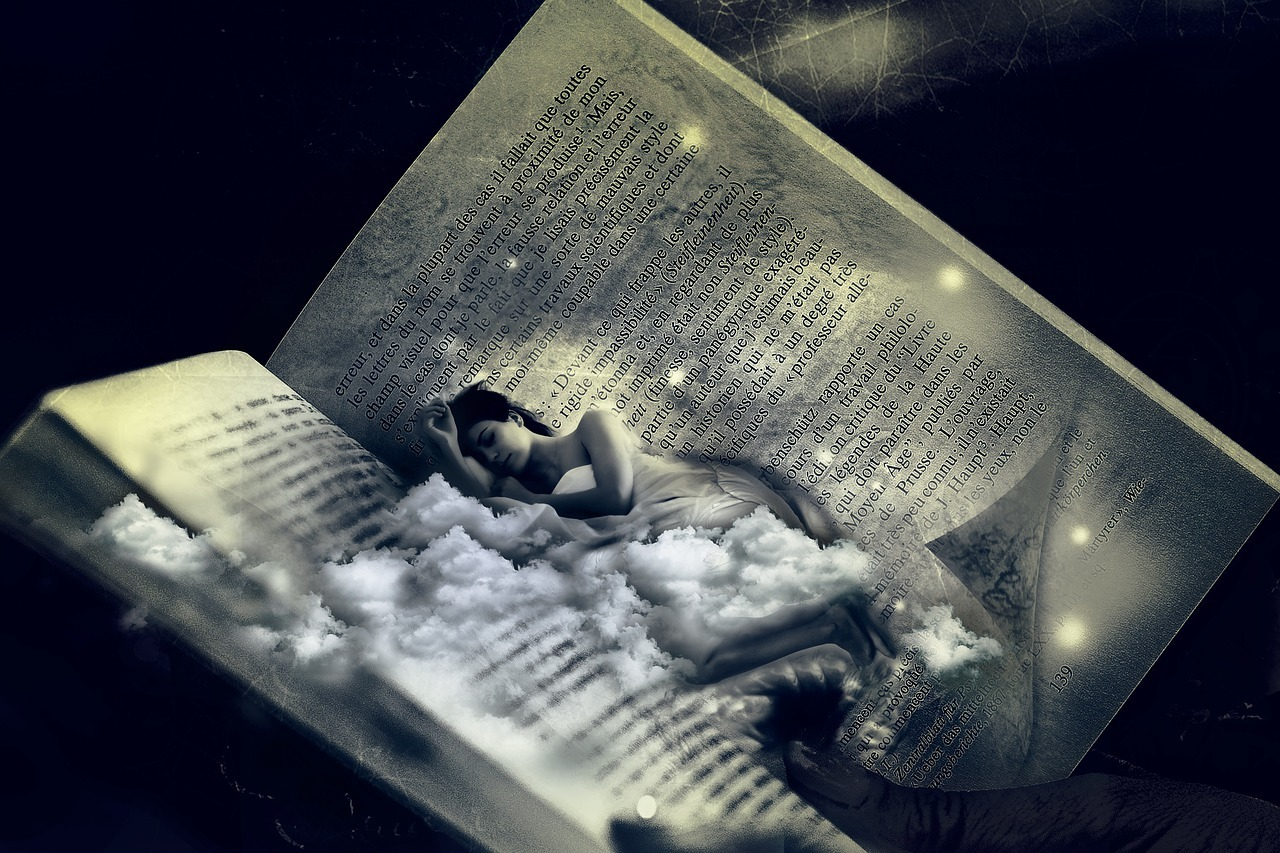Graphics of a woman sleeping on a opened book